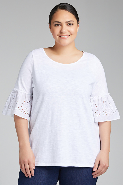 Plus Size - Sara Broderie Sleeve Top