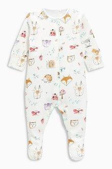 Next Woodland Animal Print Sleepsuits Three Pack (0mths-2yrs)