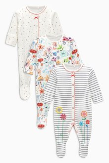 Next Bright Floral Sleepsuits Three Pack (0mths-2yrs)