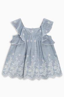 Next Ticking Stripe Embellished Dress (0mths-2yrs)