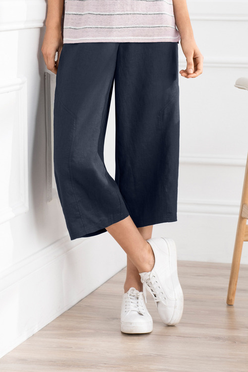 Grace Hill Wide Leg Linen Cargo Pant