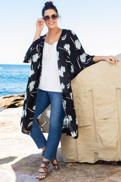 Plus Size - Sara Longline Kimono