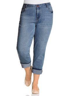 Plus Size - Sara Denim Cuffed Crop Jean
