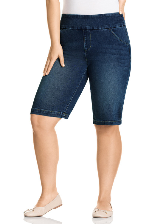 Plus Size - Sara Pull On Denim Short