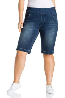 Plus Size - Sara Pull On Denim Shorts