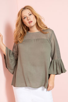 Plus Size - Sara Lace Sleeve Peasant Top