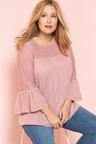 Plus Size - Sara Lace Sleeve Peasant Top