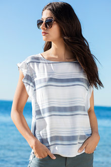 Capture Stripe Ruffle Top