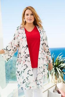 Plus Size - Sara Curved Hem Kimono