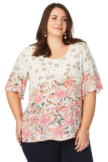 Plus Size - Beme Elbow Frill Sleeve Garden Bird Top