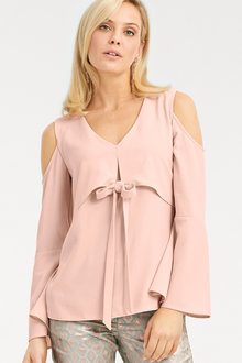 Heine Cold Shoulder Bow Detail Top