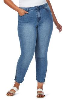 Plus Size - Beme Skinny Leg Zip Detail Jean