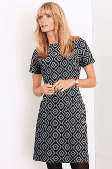 Next Square Neck Jacquard Dress - 207369