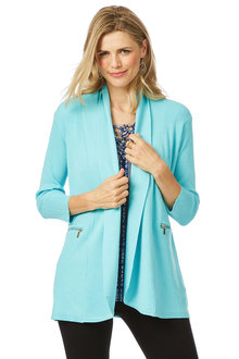 Rockmans 3/4 Sleeve Zip Detail Rib Cardigan