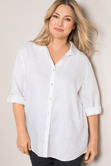 Plus Size - Sara Linen Swing Shirt