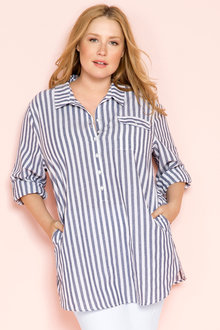Plus Size - Sara Longline Placket Shirt