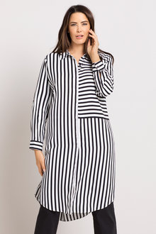 Plus Size - Sara Longline Stripe Shirt