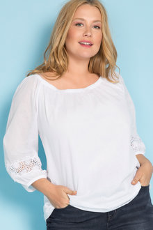 Plus Size - Sara Lace Sleeve Swing Top