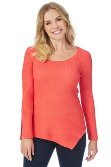Rockmans Long Sleeve Asymmetric Rib Knit