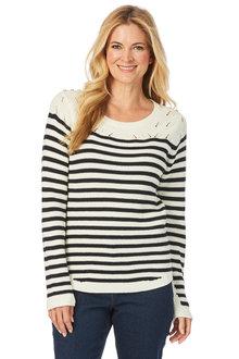 W.Lane Stripe Cable Sweater