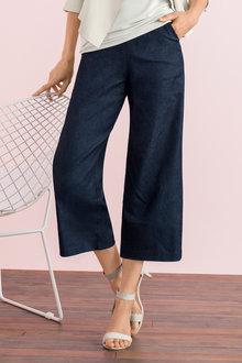 Grace Hill Wide Leg Tailored Denim Pant