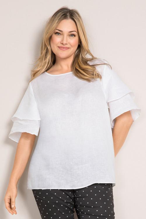 Sara Linen Bell Sleeve Top