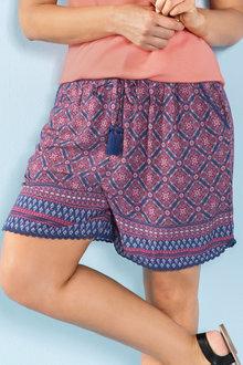 Plus Size - Sara Printed Viscose Short