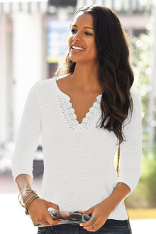 Urban Lace Neck Slub Top