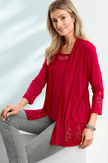 Euro Edit Faux Layer Cardigan - 207916