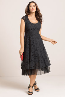 Plus Size - Sara Lace Fit n Flare Dress