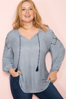 Plus Size - Sara Embroidered Sleeve Top