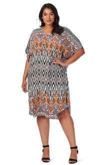 Plus Size - Beme Mono Aztec Dress
