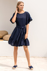 Emerge Linen Ruffle Sleeve Dress