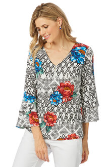 Rockmans 3/4 Sleeve Tribal Floral Print Top