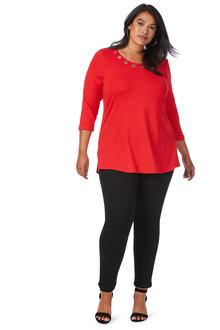 Plus Size - Beme 3/4 Sleeve Eyelet Neck Top