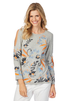 Rockmans Long Sleeve Floral Embroidered Knit