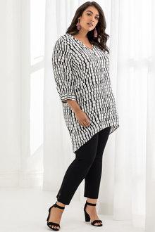 Plus Size - Beme Geo Print Longline Shirt
