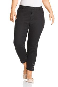 Plus Size - Sara Button Crop Jeans - 208057