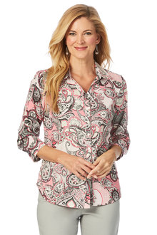 W.Lane Roll Sleeve Print Shirt