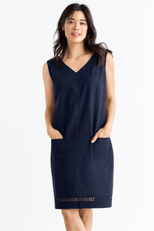 Linen Blend Pocket Dress
