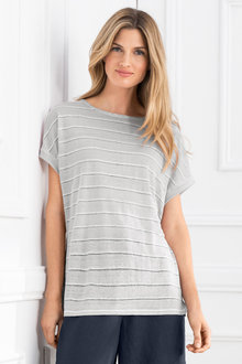 Grace Hill Striped Linen Tee - 208129