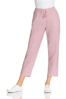 Capture Linen Trim Detail Ankle Pant