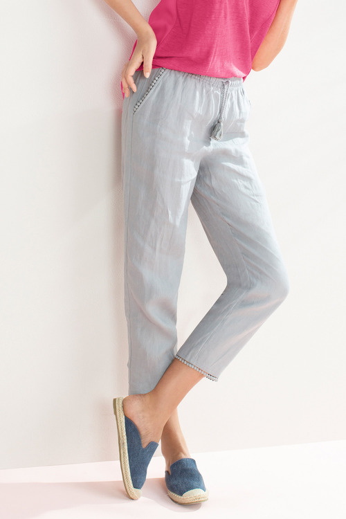 Capture Linen Trim Detail Ankle Pant