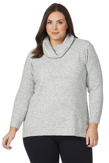 Plus Size - Beme Long Sleeve Speckled Roll Neck