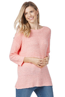 Rockmans 3/4 Sleeve Boatneck Button Tab Knit