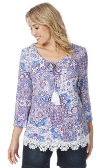 Rockmans 3/4 Sleeve Florish Print Top - 208160