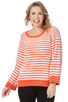 Rockmans Long Sleeve Chenille Stripe Knit