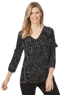 Rockmans 3/4 Sleeve Spotted Floral Print Top
