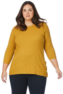 Plus Size - Beme 3/4 Sleeve Ribbed Popper Jumper