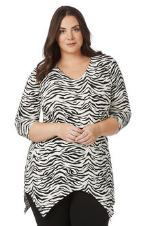 Plus Size - Beme 3/4 Sleeve Zebra Print Top